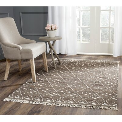 Natural Kilim Dhurrie Brown & Ivory Area Rug Rug Size: 9 x 12