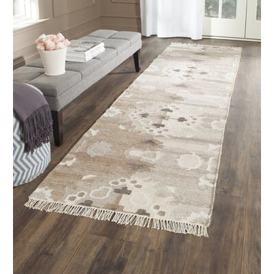 Natural Kilim Hand-Woven Gray/Brown Area Rug Rug Size: Runner 23 x 8