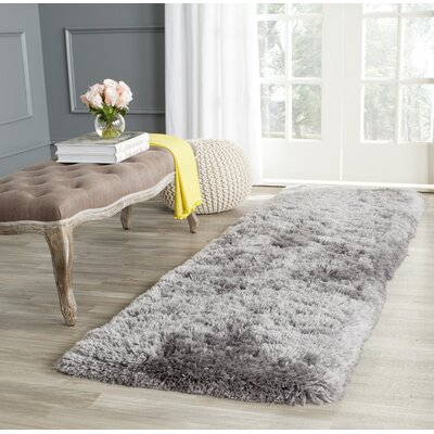 Dax Shag Hand-Tufted Gray Area Rug Rug Size: Rectangle 26 x 4