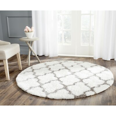 Barcelona Ivory/Silver Area Rug Rug Size: Round 5