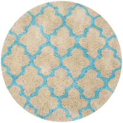 Barcelona Cream/Blue Area Rug Rug Size: Round 5