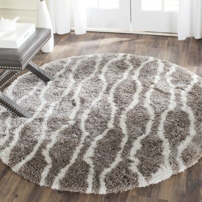 Barcelona Silver/White Area Rug Rug Size: Round 5