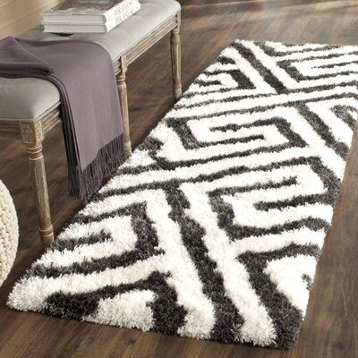 Barcelona Graphite & White Area Rug Rug Size: Runner 23 x 7