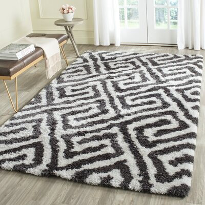 Barcelona Graphite & White Area Rug Rug Size: Rectangle 5 x 8