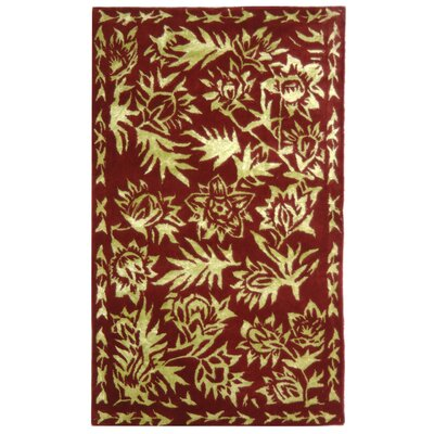 Riviera Red / Gold Contemporary Rug Rug Size: 26 x 42 Rectangle