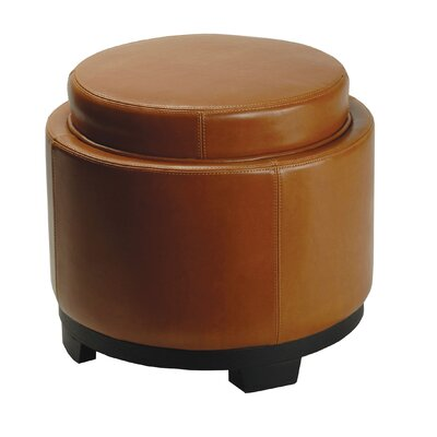 Round Cocktail Ottoman with Storage Tray in Saddle