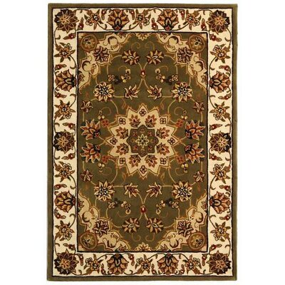 Traditions TD610A Green / Ivory Oriental Rug Rug Size: Rectangle 4 x 6