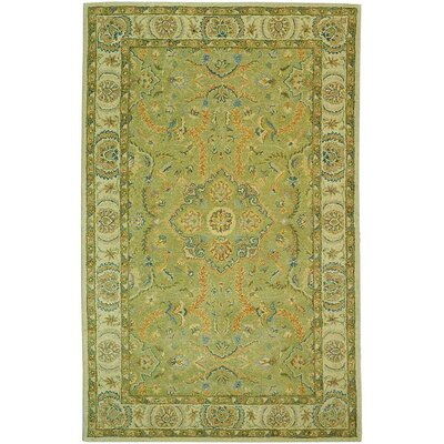 Antiquities Hand-Tufted Green/Ivory Area Rug Rug Size: Rectangle 96 x 136