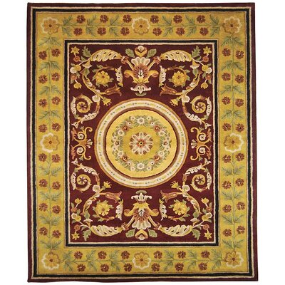 Classic Burgundy / Gold Area Rug Rug Size: Rectangle 8'3
