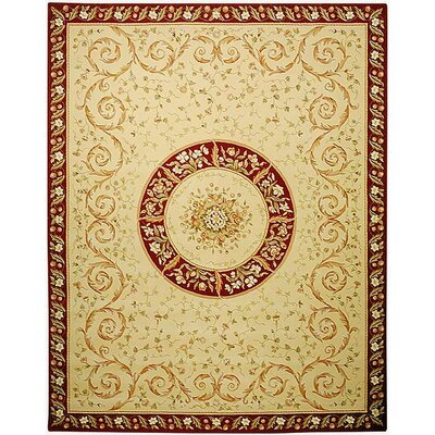 French Tapis Hand Woven Beige/Dark Red Area Rug