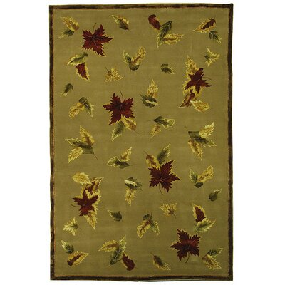 French Tapis Linen/Olive Floral Area Rug Rug Size: Rectangle 5 x 8