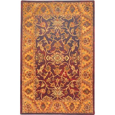 Golden Jaipur Burgundy/Gold Area Rug Rug Size: Runner 23 x 14