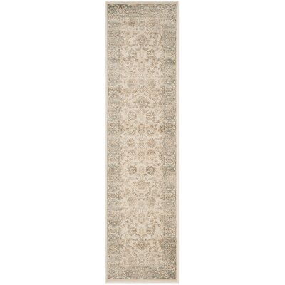 Vintage Ivory/Light Blue Area Rug Rug Size: Runner 22 x 12