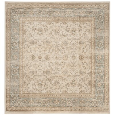 Vintage Ivory/Light Blue Area Rug Rug Size: Square 67