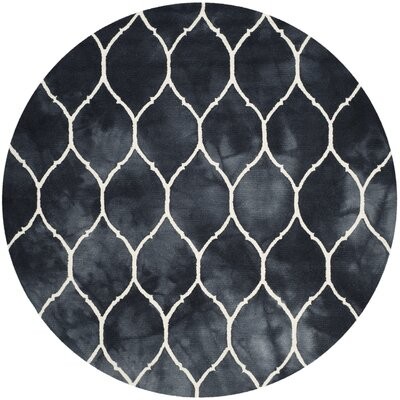 El Segundo Hand-Tufted Graphite/Ivory Area Rug Rug Size: Round 7 x 7
