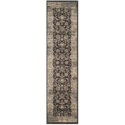 Vintage Black/Ivory Area Rug Rug Size: Runner 22 x 8