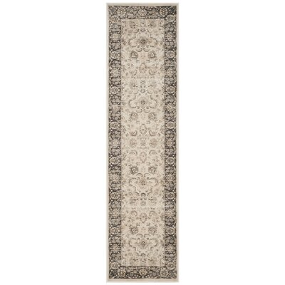 Mainville Power Loom Ivory/Black Area Rug Rug Size: Runner 22 x 8