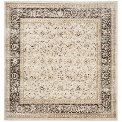 Mainville Power Loom Ivory/Black Area Rug Rug Size: Square 67