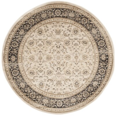 Mainville Power Loom Ivory/Black Area Rug Rug Size: Round 67