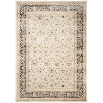 Mainville Power Loom Ivory/Black Area Rug Rug Size: Rectangle 51 x 77