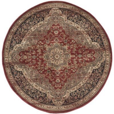Vintage Rust Red/Black Area Rug Rug Size: Round 67