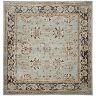 Vintage Light Blue/Black Area Rug Rug Size: Square 67