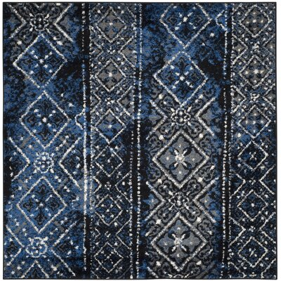 Norwell Silver & Black Area Rug Rug Size: Square 4