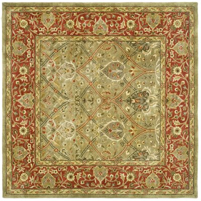Persian Legend Light Green & Rust Area Rug Rug Size: Square 6'