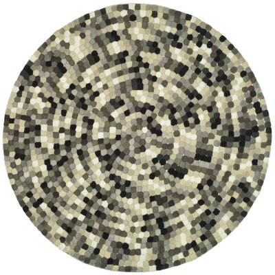 Freda Hand-Tufted Black/Gray Area Rug Rug Size: Round 6