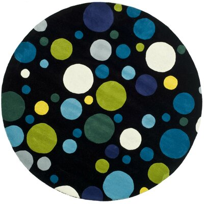 Soho Hand-Woven Wool Black Area Rug Rug Size: Round 6