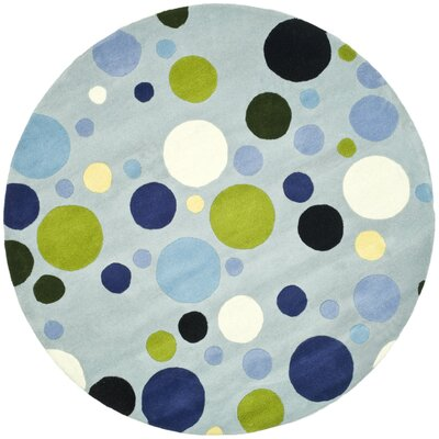 Soho Hand-Tufted Wool Blue Area Rug Rug Size: Round 6