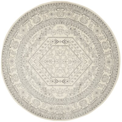 Glover Contemporary Ivory/Silver Area Rug Rug Size: Round 9