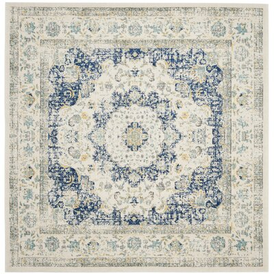 Elson Ivory & Blue Area Rug Rug Size: Square 9
