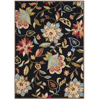 Childers Hand-Hooked Black/Purple Indoor/Outdoor Area Rug Rug Size: Rectangle 5 x 8