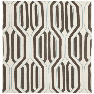 Dhurries Ivory/Brown Area Rug Rug Size: Square 6