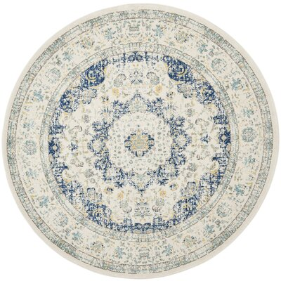 Elson Ivory & Blue Area Rug Rug Size: Round 67