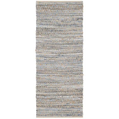 Arria Hand-Woven Natural/Blue Jute Area Rug Rug Size: Runner 23 x 8