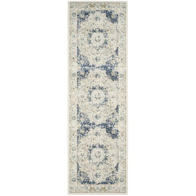 Elson Ivory & Blue Area Rug Rug Size: Runner 22 x 15