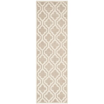 Mahoney Hand-Tufted Mocha/Ivory Area Rug Rug Size: Runner 26 x 8