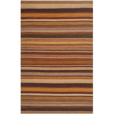 Kilim Rust Striped Contemporary Rug Rug Size: 3 x 5