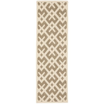 Quinlan Brown/Tan Indoor/Outdoor Area Rug Rug Size: Runner 24 x 67