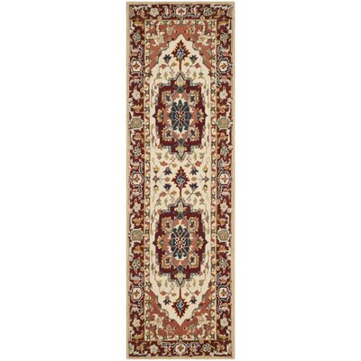 Chelsea Red / Ivory Outdoor Area Rug Rug Size: Runner 26 x 12
