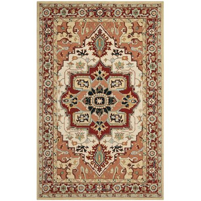 Chelsea Red / Ivory Outdoor Area Rug Rug Size: Rectangle 6 x 9