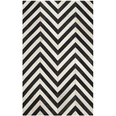 Drage Hand-Woven White / Black Area Rug Rug Size: Rectangle 4 x 6