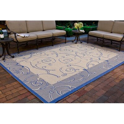 Poole Natural / Blue Outdoor Area Rug Rug Size: Rectangle 9 x 126