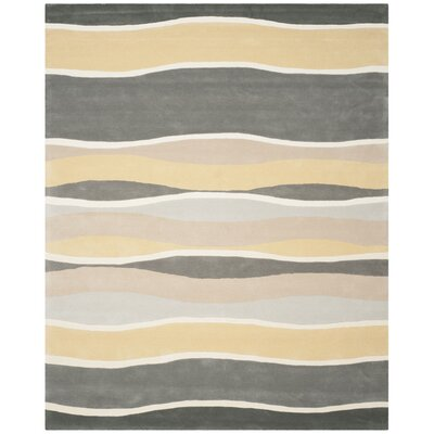Soho Hand-Tufted Gray / Gold Area Rug Rug Size: 7'6