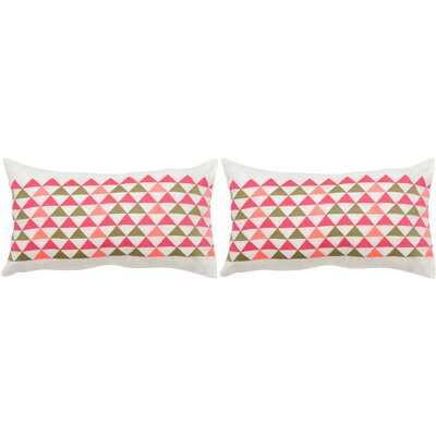 Geo Mountain Linen Lumbar Pillow Color: Multi