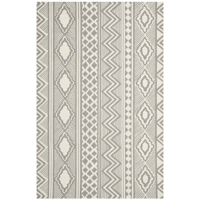 Hand-Tufted Gray/Ivory Area Rug Rug Size: 8 x 10