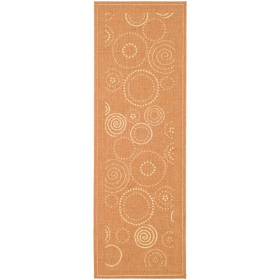 Courtyard Circle Terracotta / Natural Indoor / Outdoor Runner Rug Rug Size: 2'4