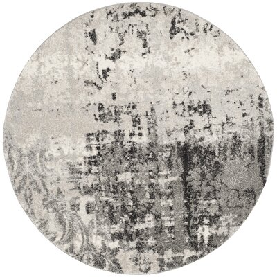Dayna Gray Area Rug Rug Size: Round 6
